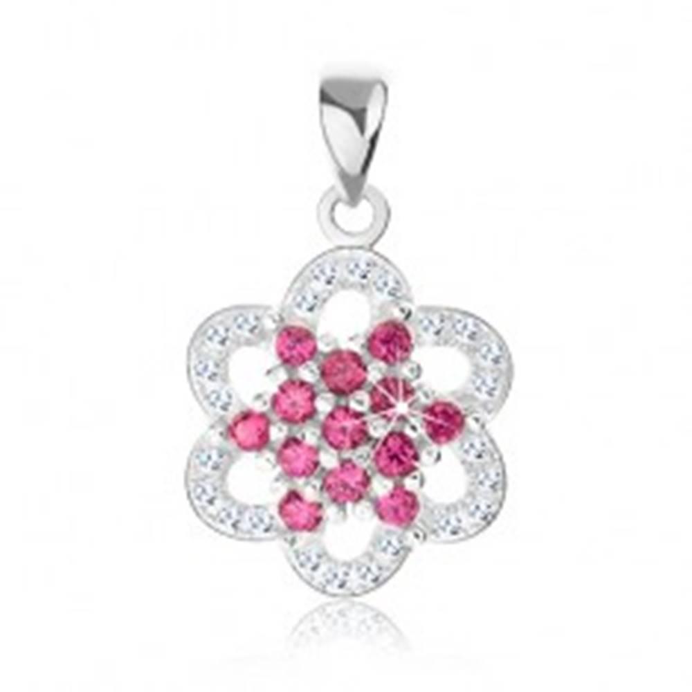 Šperky eshop Strieborný prívesok 925, kvietok z ružových a čírych zirkónov, oblé lupene