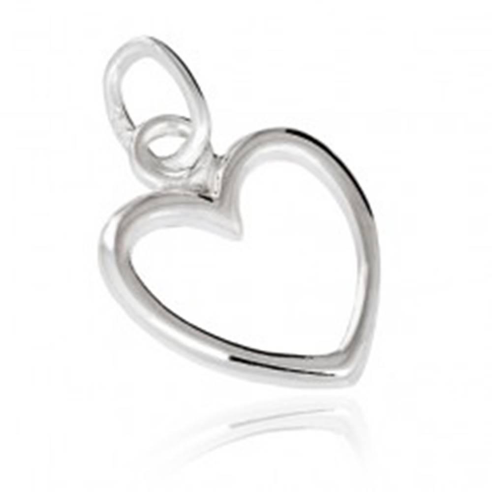 Šperky eshop Strieborný prívesok 925 - obrys srdca
