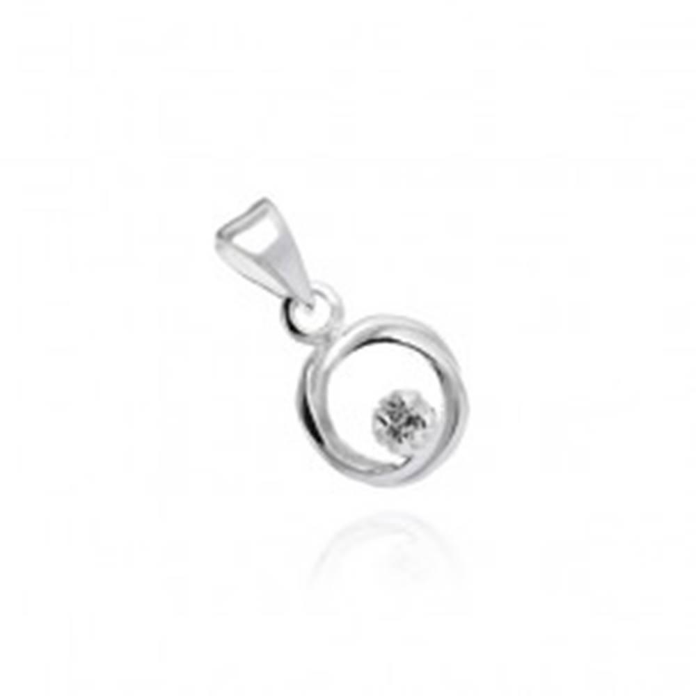 Šperky eshop Strieborný prívesok 925 - okrúhly pletenec so zirkónovým očkom