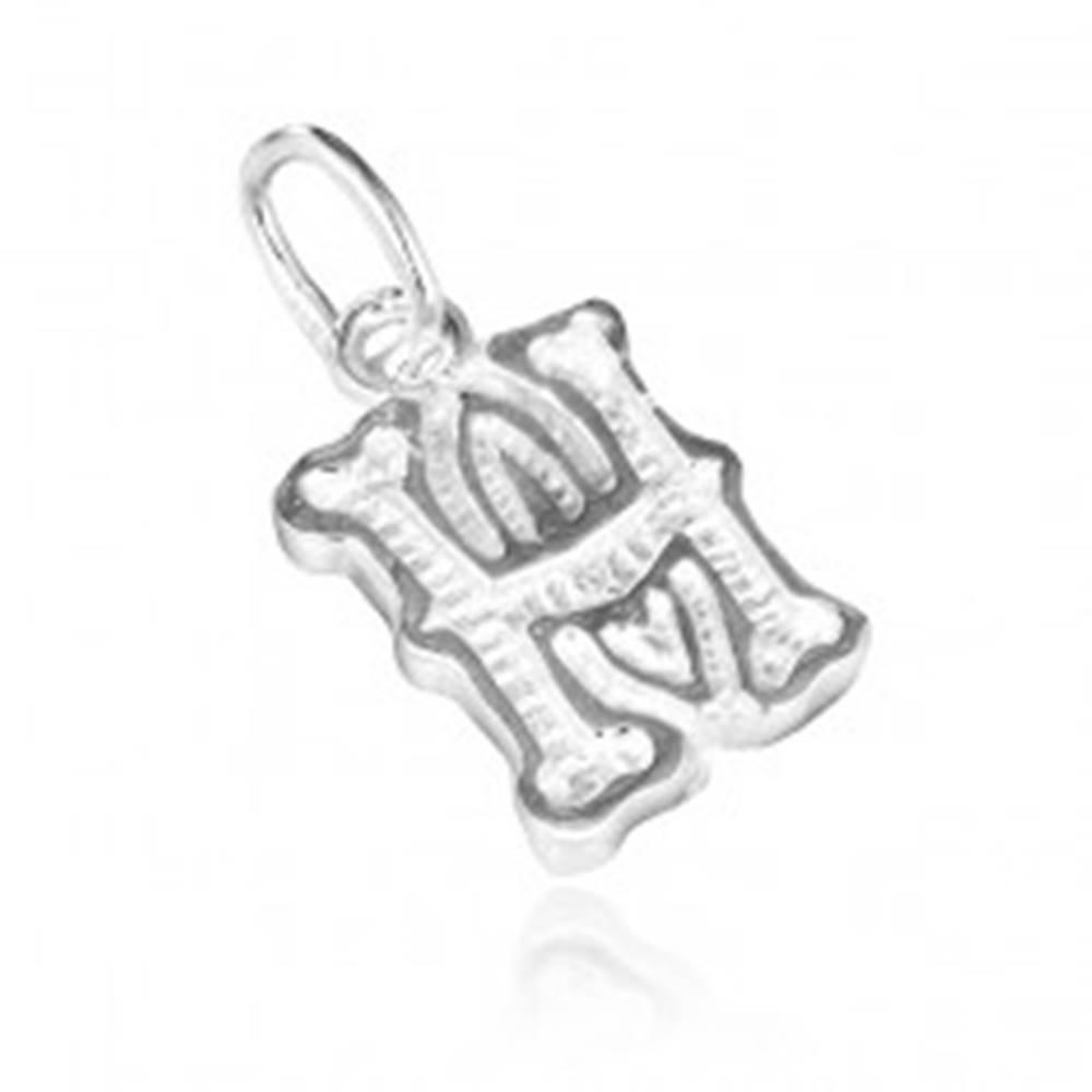 Šperky eshop Strieborný prívesok 925 - písmeno H s dekoráciou