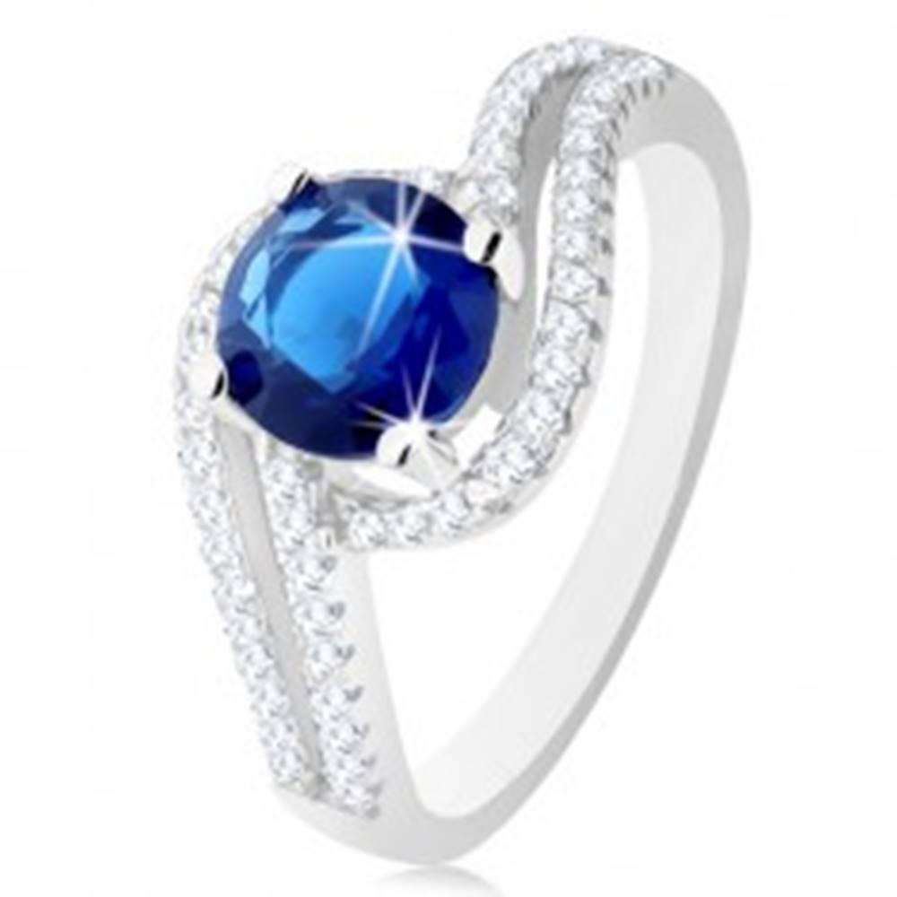 Šperky eshop Strieborný prsteň 925, číre dvojité vlnky, okrúhly tmavomodrý zirkónik - Veľkosť: 49 mm