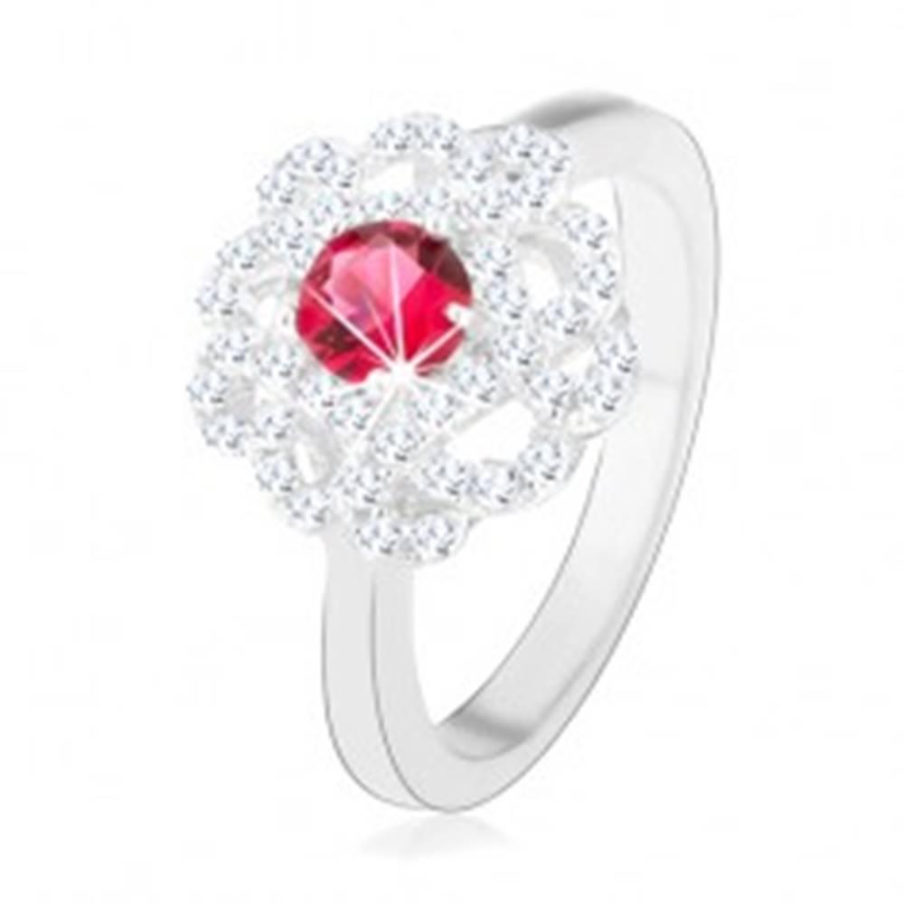 Šperky eshop Strieborný prsteň 925, kvet s tmavoružovým zirkónom a zvlnenými líniami - Veľkosť: 49 mm