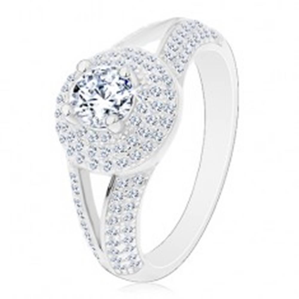 Šperky eshop Strieborný prsteň 925 - zásnubný, rozdelené ramená, žiarivý kruh so zirkónom - Veľkosť: 50 mm