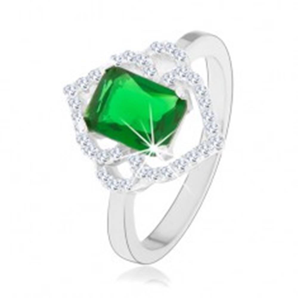 Šperky eshop Strieborný prsteň 925, zelený obdĺžnikový zirkón, číre obrysy lístkov, oblúčiky - Veľkosť: 49 mm