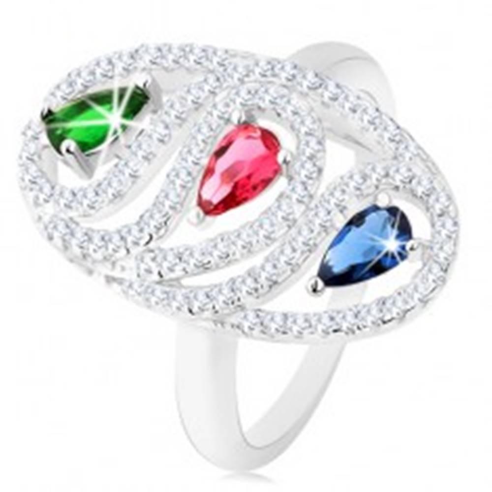 Šperky eshop Strieborný prsteň 925, zirkónová oválna kontúra, farebné brúsené kvapky - Veľkosť: 49 mm