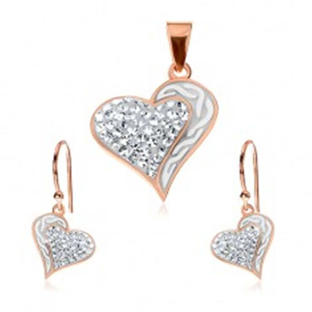 Šperky eshop Strieborný set 925 - náušnice a prívesok medenej farby, srdce s vlnkami a zirkónmi