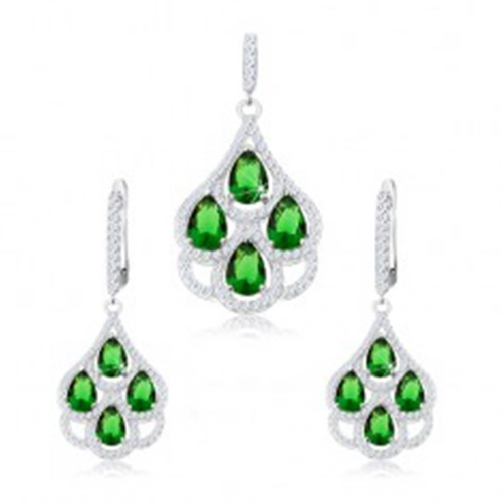 Šperky eshop Strieborný set 925, prívesok a náušnice, zelené zirkónové kvapky, číry lem