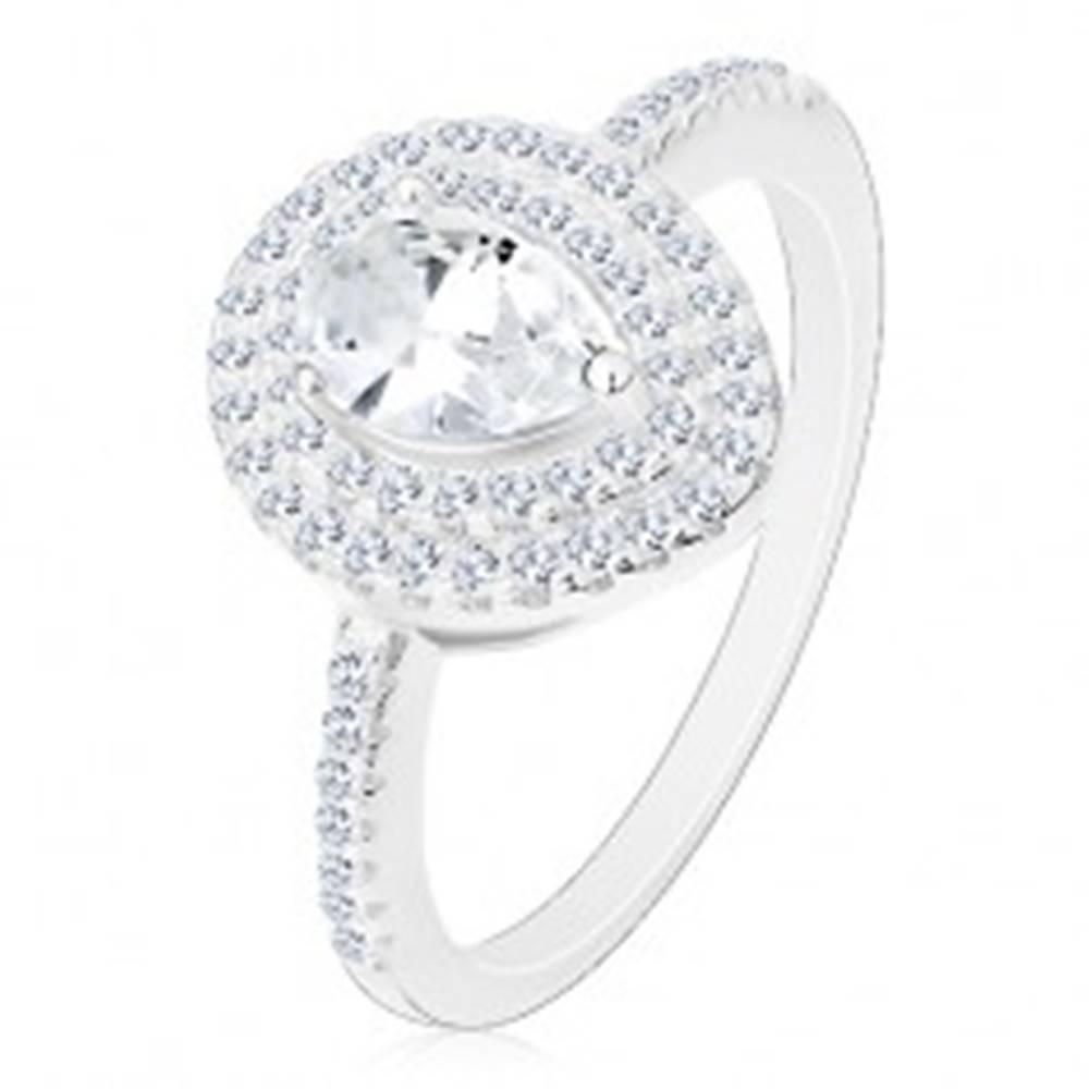 Šperky eshop Strieborný zásnubný prsteň 925, číra brúsená kvapka v dvojitej kontúre - Veľkosť: 49 mm