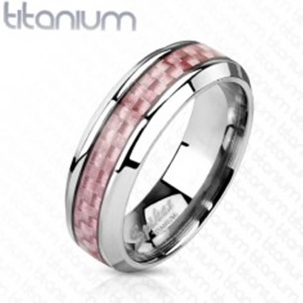 Šperky eshop Titánová obrúčka striebornej farby, stredový pás z ružových vlákien, 6 mm - Veľkosť: 49 mm