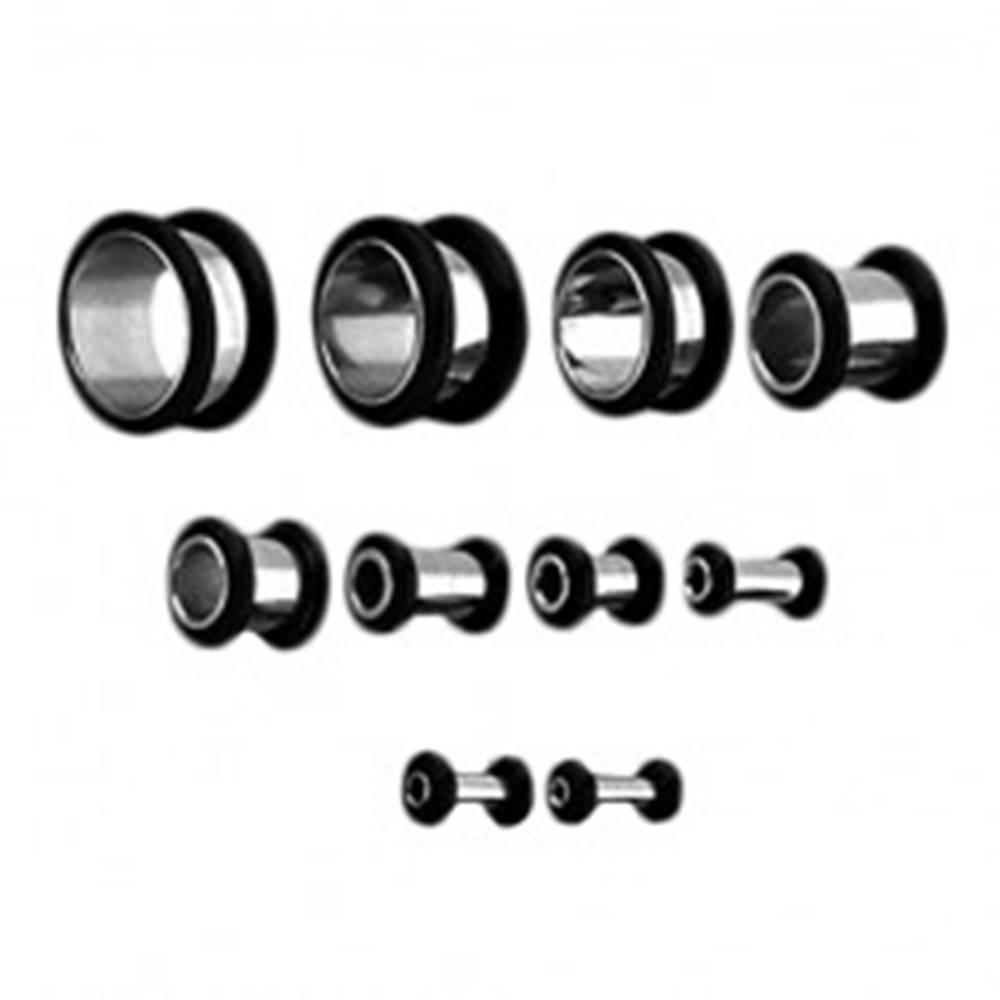 Šperky eshop Tunel do ucha z chirurgickej ocele, dve čierne gumičky - Hrúbka: 10 mm
