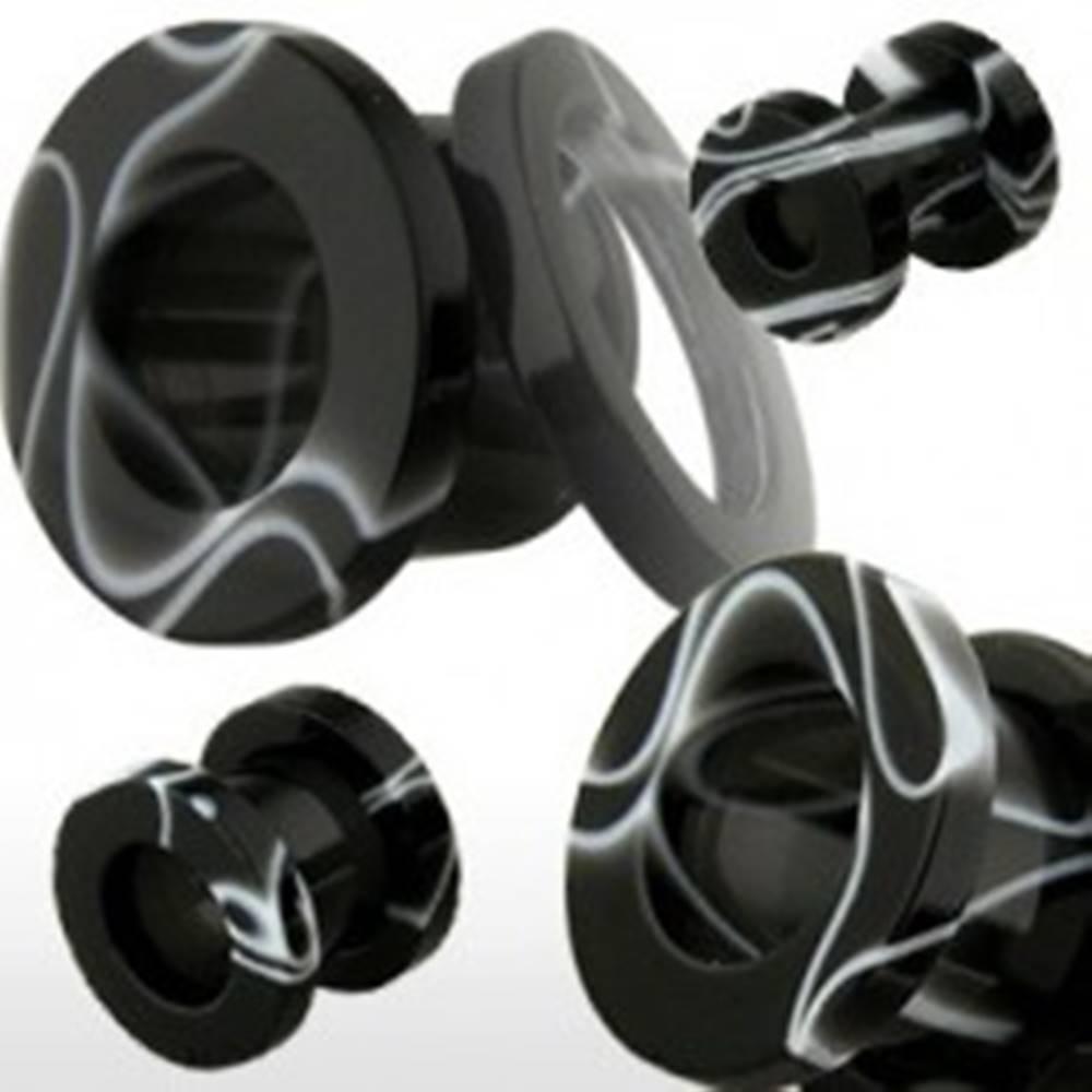 Šperky eshop Tunel do ucha z akrylu, čierny s bielym mramorovým vzorom - Hrúbka: 10 mm, Farba piercing: Čierna