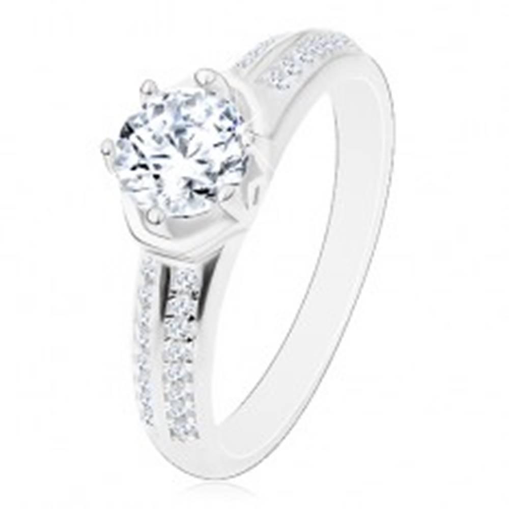 Šperky eshop Zásnubný prsteň - striebro 925, žiarivý okrúhly zirkón, oblúčiky, ligotavé ramená - Veľkosť: 48 mm