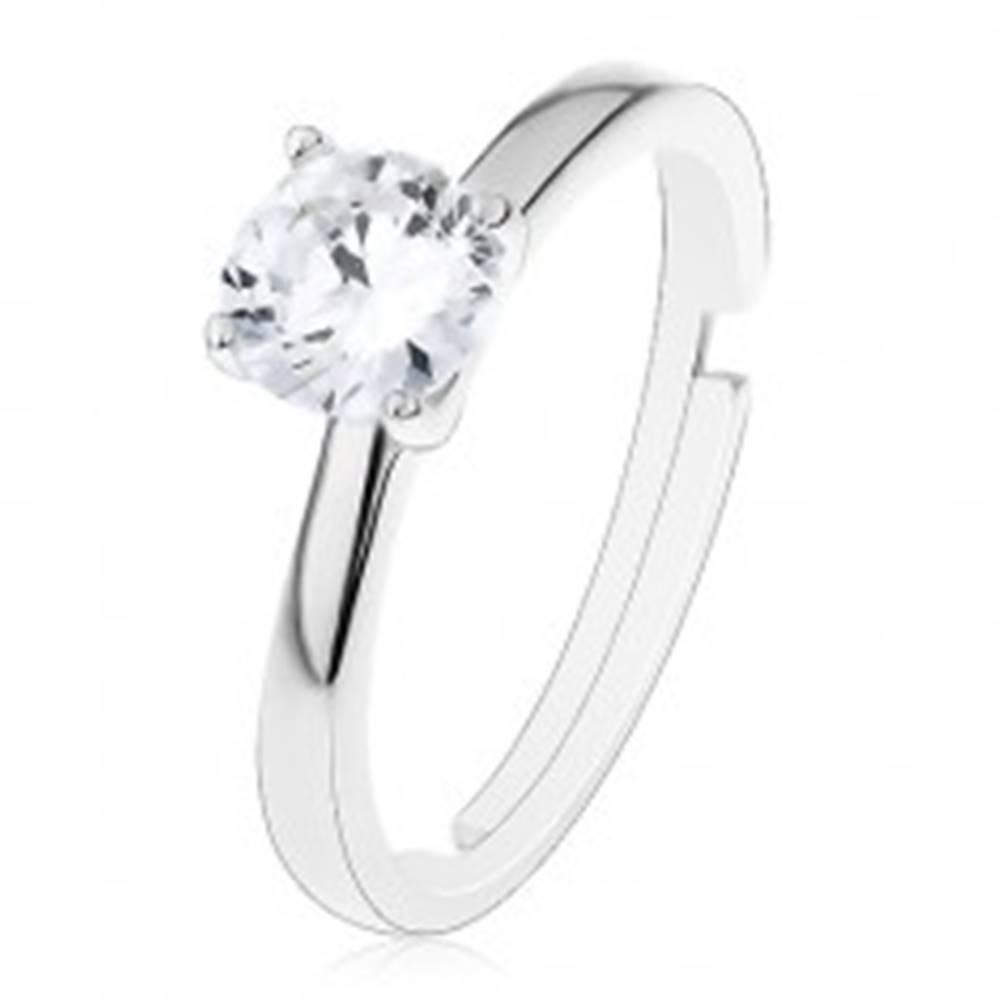 Šperky eshop Zásnubný prsteň zo striebra 925 - nastaviteľný, vyvýšený okrúhly zirkón čírej farby - Veľkosť: 49 mm