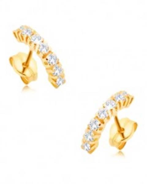 Šperky eshop Náušnice v žltom 9K zlate - menšia zaoblená línia z čírych zirkónov