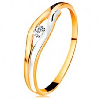 Briliantový prsteň v 14K zlate - diamant v úzkom výreze, dvojfarebné línie - Veľkosť: 48 mm