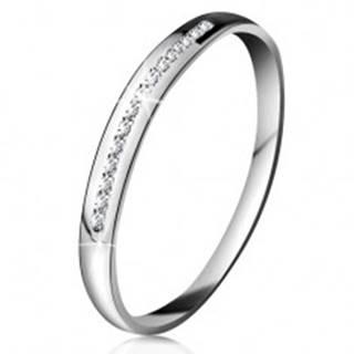 Briliantový prsteň v bielom 14K zlate - ligotavá línia drobných čírych diamantov - Veľkosť: 49 mm