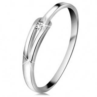 Briliantový prsteň z bieleho 14K zlata - ligotavý číry diamant, úzke rozdelené ramená - Veľkosť: 49 mm