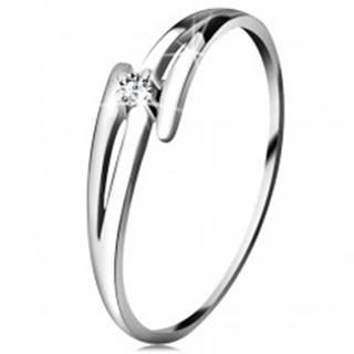 Briliantový prsteň z bieleho 14K zlata - rozdelené zvlnené ramená, číry diamant - Veľkosť: 49 mm