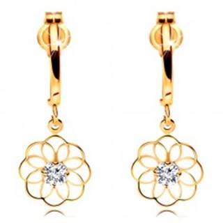 Diamantové náušnice zo žltého 14K zlata - visiaci kvet s ligotavým briliantom