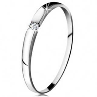 Diamantový prsteň z bieleho 14K zlata - briliant čírej farby, jemne vypuklé ramená - Veľkosť: 48 mm