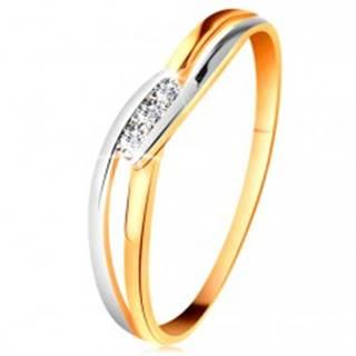 Diamantový prsteň zo 14K zlata, tri číre brilianty, rozdelené zvlnené ramená - Veľkosť: 49 mm