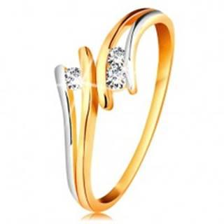 Diamantový zlatý prsteň 585, tri žiarivé číre brilianty, rozdelené dvojfarebné ramená - Veľkosť: 49 mm