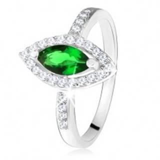 Lesklý prsteň - striebro 925, zrnkový zelený kameň s lemom, číre zirkóniky - Veľkosť: 49 mm