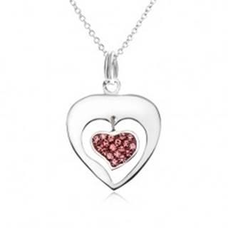 Náhrdelník - retiazka, obrys srdca, srdce, ružové zirkóniky, striebro 925