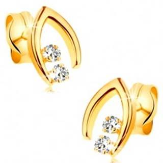 Náušnice v žltom 14K zlate - špicatá podkovička s dvoma čírymi zirkónmi
