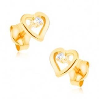 Náušnice v žltom 9K zlate - kontúra nepravidelného srdca, zirkónik