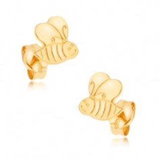 Náušnice v žltom 9K zlate - ligotavá ozdobne gravírovaná včielka