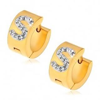 Náušnice z ocele 316L zlatej farby, biele písmeno S zdobené čírymi zirkónikmi