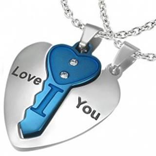 Oceľový dvojprívesok, srdce striebornej farby s modrým kľúčikom, nápis, zirkóny