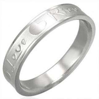 Oceľový prsteň striebornej farby, matný stred a lesklé okraje, Love & Kiss - Veľkosť: 45 mm