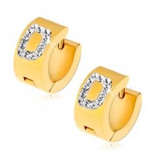 Okrúhle náušnice z ocele 316L zlatej farby, písmeno D s čírymi zirkónmi