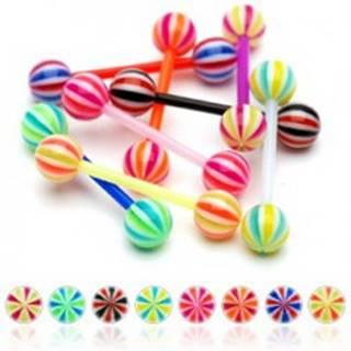 Piercing do jazyka z UV flexibilného materiálu cukríková gulička - Farba piercing: Čierna - Biela - Červená - KWR