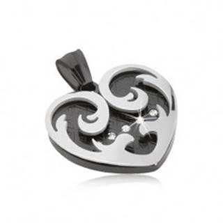 Prívesok z ocele, srdce s ornamentmi v čiernej a striebornej farbe, zirkóny