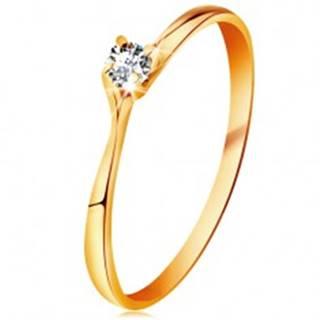 Prsteň v žltom 14K zlate - trblietavý číry briliant v lesklom vyvýšenom kotlíku - Veľkosť: 48 mm