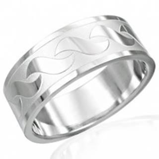 Prsteň z chirurgickej ocele s lesklými vzormi v tvare S - Veľkosť: 54 mm