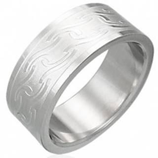 Prsteň z chirurgickej ocele s matnými pruhmi rôzneho tvaru - Veľkosť: 54 mm