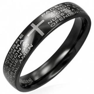 Prsteň z čiernej chirurgickej ocele s modlitebným náboženským textom - Veľkosť: 49 mm