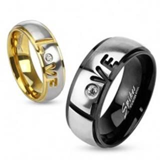 Prsteň z ocele 316L, čierna a strieborná farba, nápis Love, číry zirkón, 8 mm - Veľkosť: 59 mm