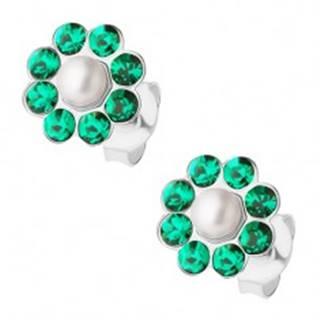 Puzetové náušnice - striebro 925, kvet s perličkou a zelenými krištálmi Preciosa