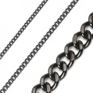 Retiazka z chirurgickej ocele reťaz brúsená lesklá v čiernej farbe - Hrúbka: 10 mm, Dĺžka: 600 mm