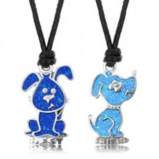 Šnúrkové náhrdelníky, svetlomodrý a tmavomodrý psík, glazúra, nápis BEST FRIEND