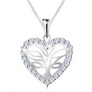 Strieborný náhrdelník 925, strom života v trblietavom srdiečku, retiazka