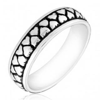 Strieborný prsteň 925 - dva rady otočených srdiečok s patinou - Veľkosť: 49 mm