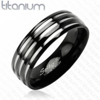 Titánová obrúčka - s troma  pruhmi striebornej farby, čierny - Veľkosť: 49 mm