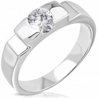 Zásnubný oceľový prsteň s vystupujúcim stredom a bočnými zárezmi - Veľkosť: 50 mm