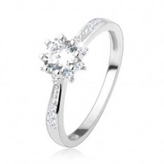 Zásnubný prsteň - striebro 925, zdobené ramená, trblietavý zirkónový kvet - Veľkosť: 50 mm